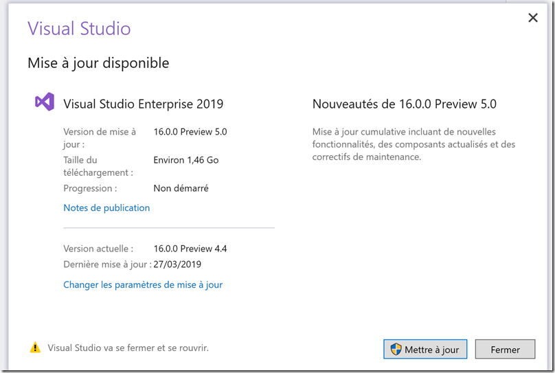 visual studio 2019 - update