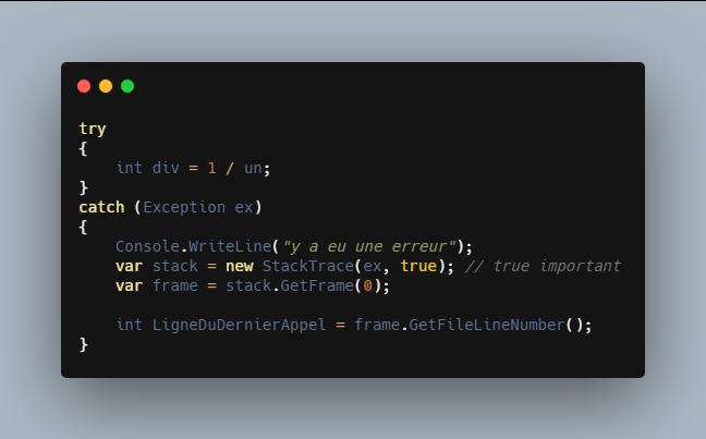 comment récupérer ligne exception .net core c#